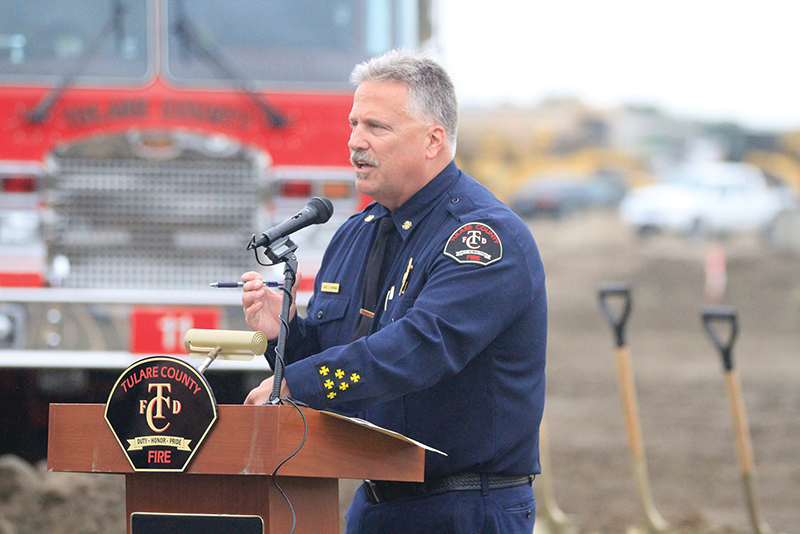 Tulare County Fire Chief Charlie Norman introduces speakers at the County's Fire Station No. 1 ground breaking. Photo by Reggie Ellis