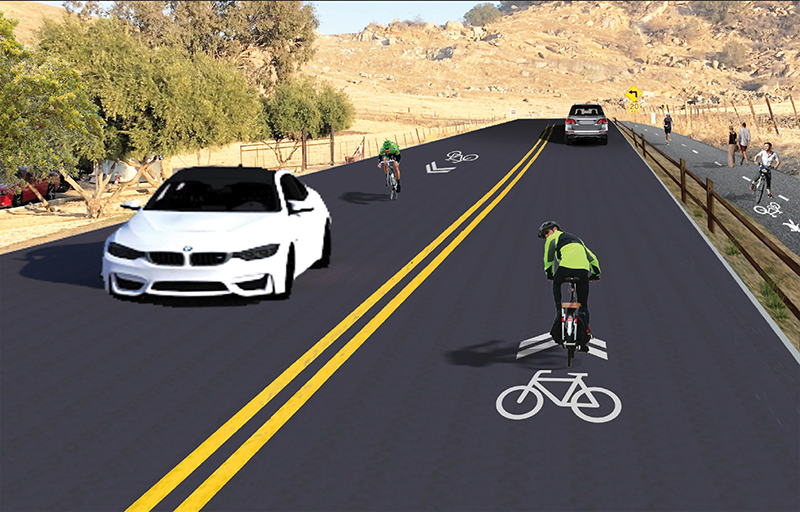 Under the first design plan the roadway would be widened to 20 feet for two lanes intended to be shared by cars and cyclists while a Class I bike and pedestrian walk way would be fitted to the right of the road. Rendering courtesy of 4 Creeks